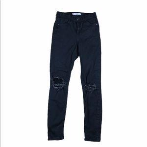 Topshop Moto Jamie  distresses Jeans Black W26L25